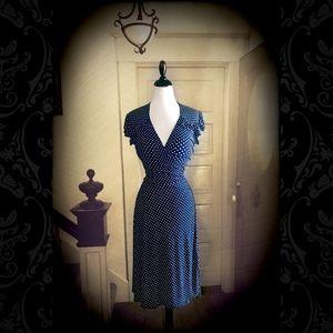 NWOT Vintage Pinup Polka Dot Wrap Dress